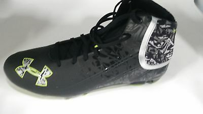 New Under Armour  Banshee Mid MC Molded Lacrosse Cleats Mens Size 12 Blk/Wht