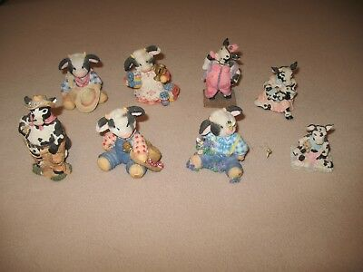 ENESCO~Marys MooMoo's Collectible Figurine & COWTOWN GANZ (8) TOTAL COLLECTIBLE
