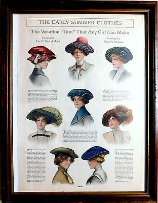 "Antique 1912 LADIES HOME JOURNAL Framed Advertisement Page  ""WOMEN'S HATS"""