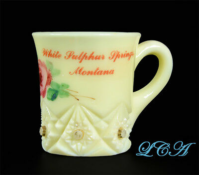 Original antique WHITE SULPHUR SPRINGS MONTANA KrysTol CUSTARD GLASS cup