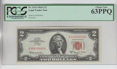 Legal Tender $2 Red Seal 1963-A PCGS graded Choice new 63PPQ