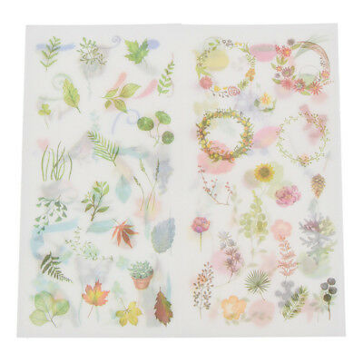 6 Pcs Flowers Leave Floral Sticker Watercolor Decal DIY Diary Album Scrapbooking