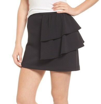 b14bf7b18c Hinge NEW Black Women s Size XL Ruffle Tiered Pull On Mini Skirt  49  268