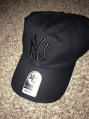 bd3217324ab New York Yankees 47 Brand Clean Up Slouch Adustable Hat Cap Black On Black