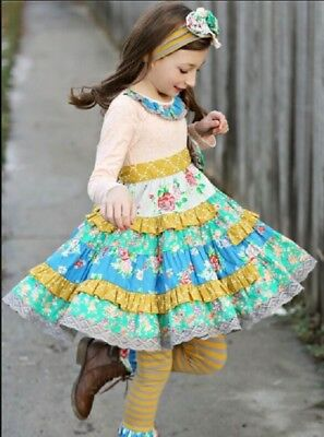 NWT Girl Mustard Pie Picnic Lunch Collection McKenna Dress Girls sz 3T