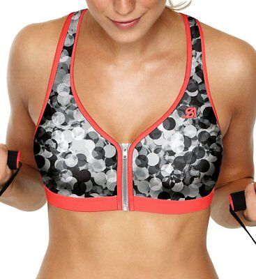 c7c37e33199 NEW SHOCK ABSORBER Active Zipped Plunge Sports BRA Bubble Print 34 C  S00BW   69