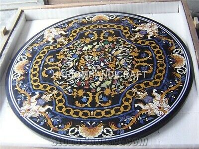3'x3' Black Marble Dining Center Table Top Inlaid Marquetry Mosaic Royal Decor