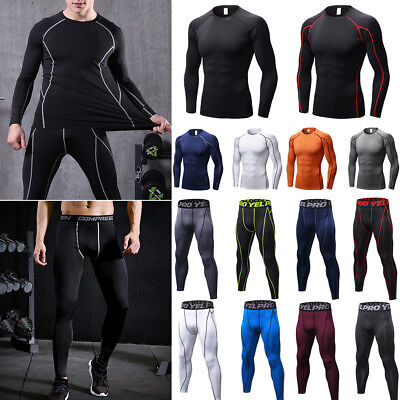 Men's Compression Thermal Base Layer T-Shirt Top Pants Long Sleeve Gym Leggings