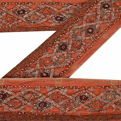 Vintage Sari Border Antique Hand Beaded 1 YD Indian Trim Sewing Peach Zari Lace