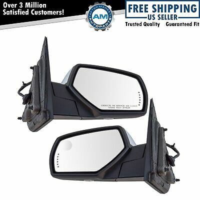 Mirror Power Folding Heated Memory Signal Puddle Chrome Pair Set for GM Pickup