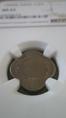 India Republic 1/2 Anna 1950(B) NGC MS 63
