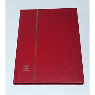 Lighthouse Stockbook DIN A4, 32 black pages, non-padded cover, red