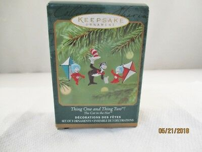 Hallmark Ornament 2001 Thing One and Thing Two * Dr Seuss * Cat in the Hat * 3pc