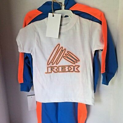 RBX Athletic Pantset 12 Months Boys Blue Orange Trim White T Shirt 3 Pc Spring