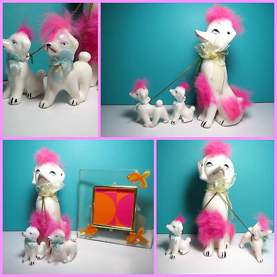 VTG 1960s Retro Kitsch Poodle Dogs Ceramic Walking Pink Fur on Chains Japan