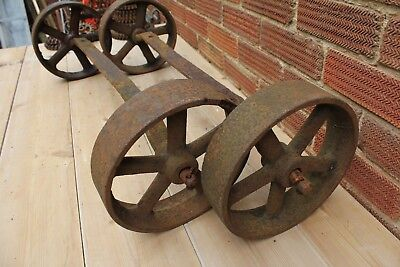 """4 Cast Iron Wheels~9 1/2"""" Diameter on Axles~Chicken Coop/Shed/Coffee Table~"""
