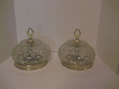 2 Vintage Clear Press Glass Ceiling Lamp Light Shade Globe Geometric Floral Key