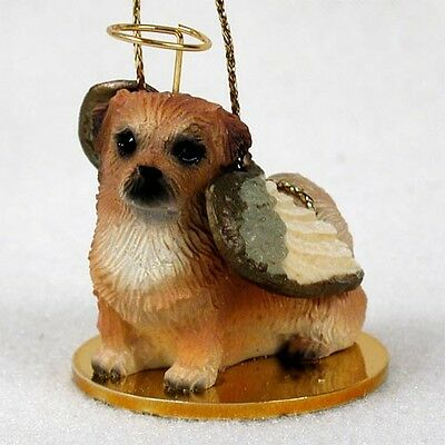 TIBETAN SPANIEL dog ANGEL Ornament HAND PAINTED Resin FIGURINE Christmas puppy