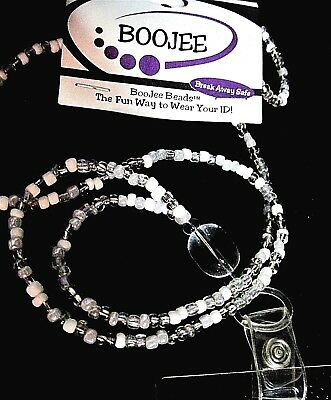 BOOJEE ID NECKLACE /HOLDER, TEACHERS , SCHOOL OFFICE HOSPITALS Icy White Bead