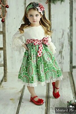 NWT Girl Mustard Pie Mystic Evergreen Holiday Collection Olivia Dress sz 6