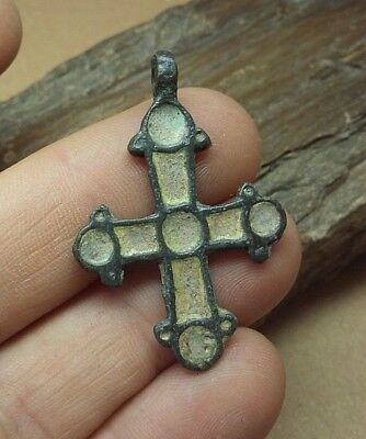GREAT ANCIENT Viking cross pendant. Bronze & yellow enamel.ca 10-13  #2658