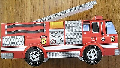 6 ~ Cardboard Fire Engine Trucks Kids Food Box Lunch Serving Tray Party Planner