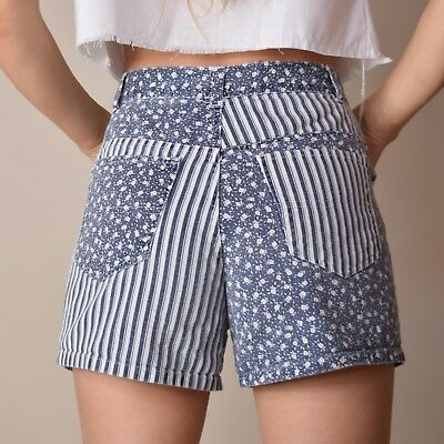 Vtg 90s ivory + blue PATCHWORK stripes + florals HIGH WAIST denim jean shorts 27