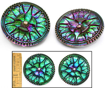 34mm Vintage Green PURPLE FIRE AB Czech Stained Glass ART DECO LILY Buttons 2pc