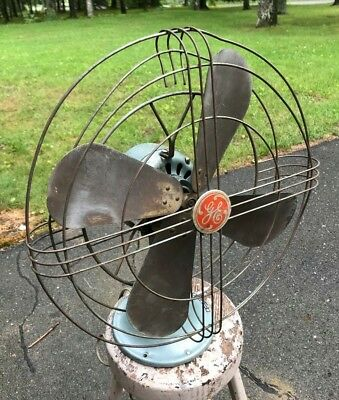 "Antique Vintage General Electric 16"" Brass Blade Fan"