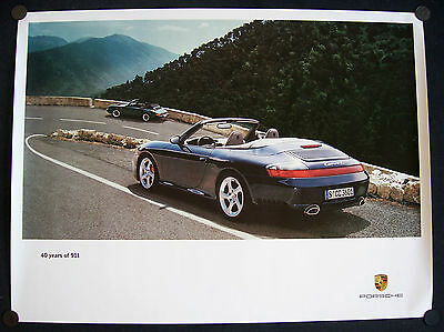 PORSCHE OFFICIAL 911 C4S & 911SC CABRIOLET 40th ANNIVERSARY SHOWROOM POSTER 2004