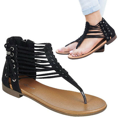 d5217094ab2d78 NEW Black Thong Open Toe Gladiator Flat Sandal Shoes Tassel Side Lace Up  Strappy