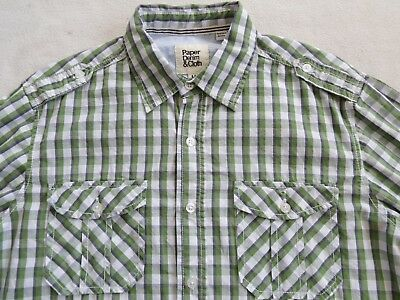 579ebac6924 Paper Denim   Cloth Men s L S Button Down Green Plaid Casual Dress Shirt -