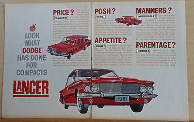1960 two page magazine ad for Dodge, Compact Lancer, Posh? Very! Price? Painless