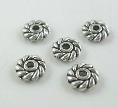 120pcs Tibetan Silver Daisy Flower Charm Loose Spacer Beads Jewelry 6mm
