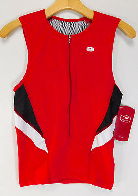 be4645952 SUGOi Sleeveless Cycling Jersey RPM Tri Tank 3 4 Zip SHIRT Red MEN S SMALL  NEW