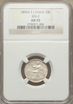 French Indochina 10 Cents 1895A NGC AU 55
