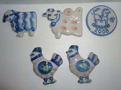 5 M.A. Hadley Pottery Stoneware Ornaments Hens Cow Sheep Disk Shape 2008