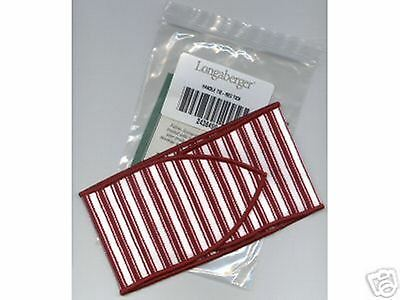 Longaberger Sweetheart Large Red & White Stripe Fabric Handle Tie New In Bag