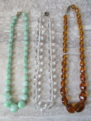 3 Vintage Antique Glass Beads Necklaces Amber Clear Jade Green