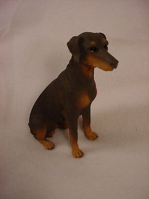 DOBERMAN PINSCHER dog HAND PAINTED FIGURINE resin COLLECTIBLE RED UNCROPPED