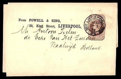 POWELL & SING LIVERPOOL SEP 7 1894 1/2c BROWN STATIONERY ISSUE WRAPPER TO HOLLAN