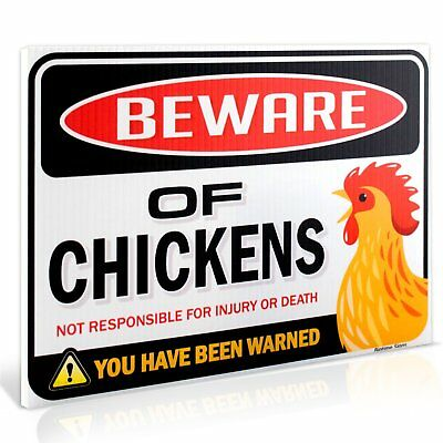 "Beware of Chickens Warning Sign | 9"" x 12"""