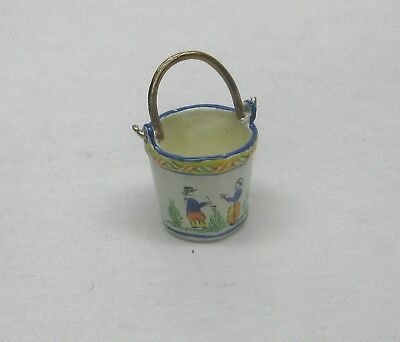 Dollhouse Miniature Hand Painted Quimper Small Milk Pail  from England