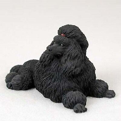 BLACK POODLE dog HAND PAINTED COLLECTIBLE Resin Statue puppy FIGURINE Show cut