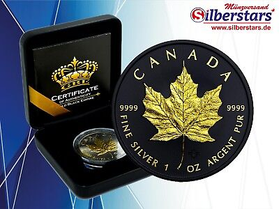 1 oz Silber Maple Leaf 2018 Gold Black Empire Edition Neu