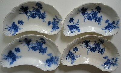 Alfred Meakin Antique 1880 Four 4 Messina Pattern Floral Flow Blue Bone Dishes