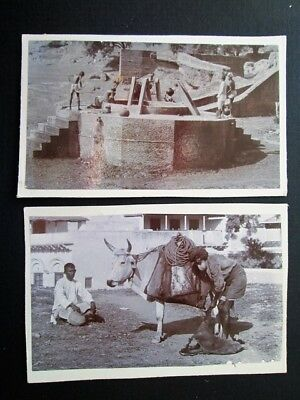 MEN WORKING, SOCIAL HISTORY IN INDIA? - 2 x SMALL PHOTOS ON CARD (1890s/1900s?)