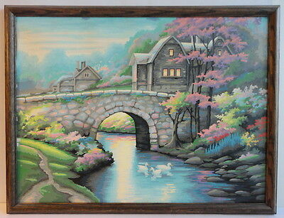 Stone Bridge Ducks Homes Lights On Soothing Paint By Numbers Framed Large 1970's