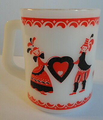 Federal Milk Glass Couple Holding Red Heart Double Sided Image Mug Vintage 1960s