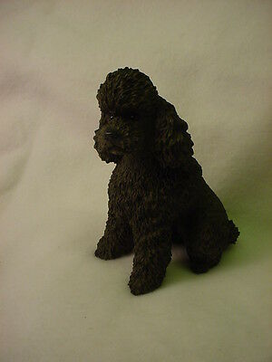 CHOCOLATE Brown POODLE dog HAND PAINTED COLLECTIBLE puppy FIGURINE NEW Sport cut